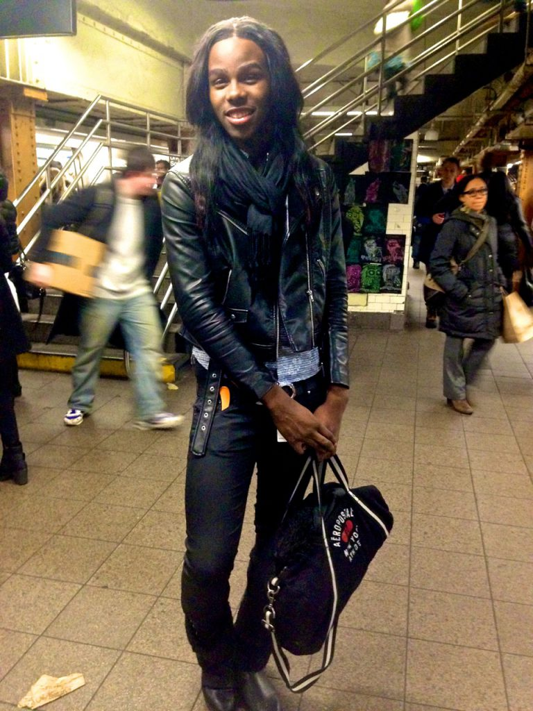 His name is Tyler Foster, and he's from East New York. In fact, that's where he was headed (E. NY) when we caught him on the L train platform at 14th Street/Union Square.