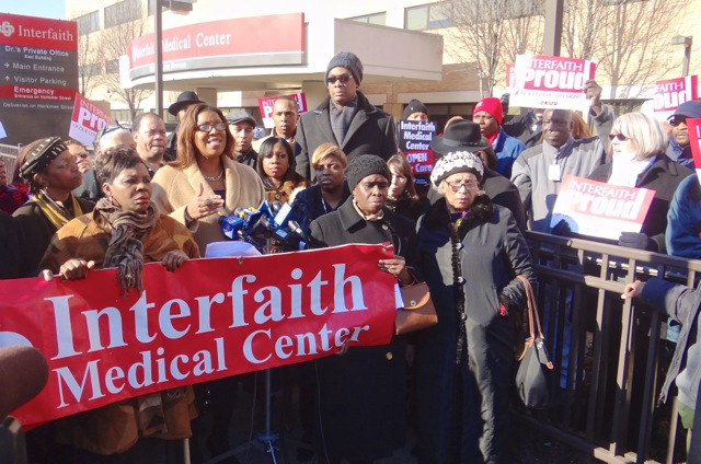 Letitia James at a rally for Interfaith Hospital in Brooklyn