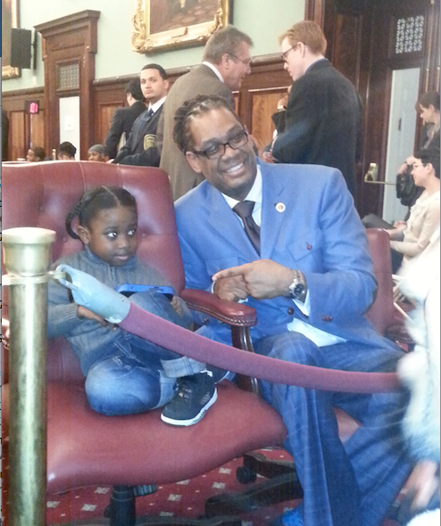 City Councilmember Robert Cornegy with Symeir Talley-Jasper