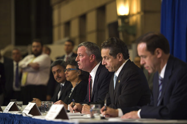 Mayor Bill de Blasio Hosts Press Conference with Governor Cuomo at Bellevue Hospital in Manhattan. Thursday, October 23, 2014.  Photo: Rob Bennett/Mayoral Photography Office.