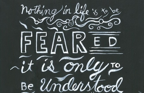 Art, Hand-Lettering, Illustration, Harriet Faith, Painting, Success, Motivation, Daily Practice, Inspiration, Quotes, Dreams, Pay Attention To Your Dreams, Madame Marie Cure, Understanding, Fear