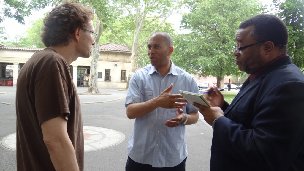 "Congressman Hakeem Jeffries (D-8) meets with a Bed-Stuy resident during his ""Congress on the Corner"" series"