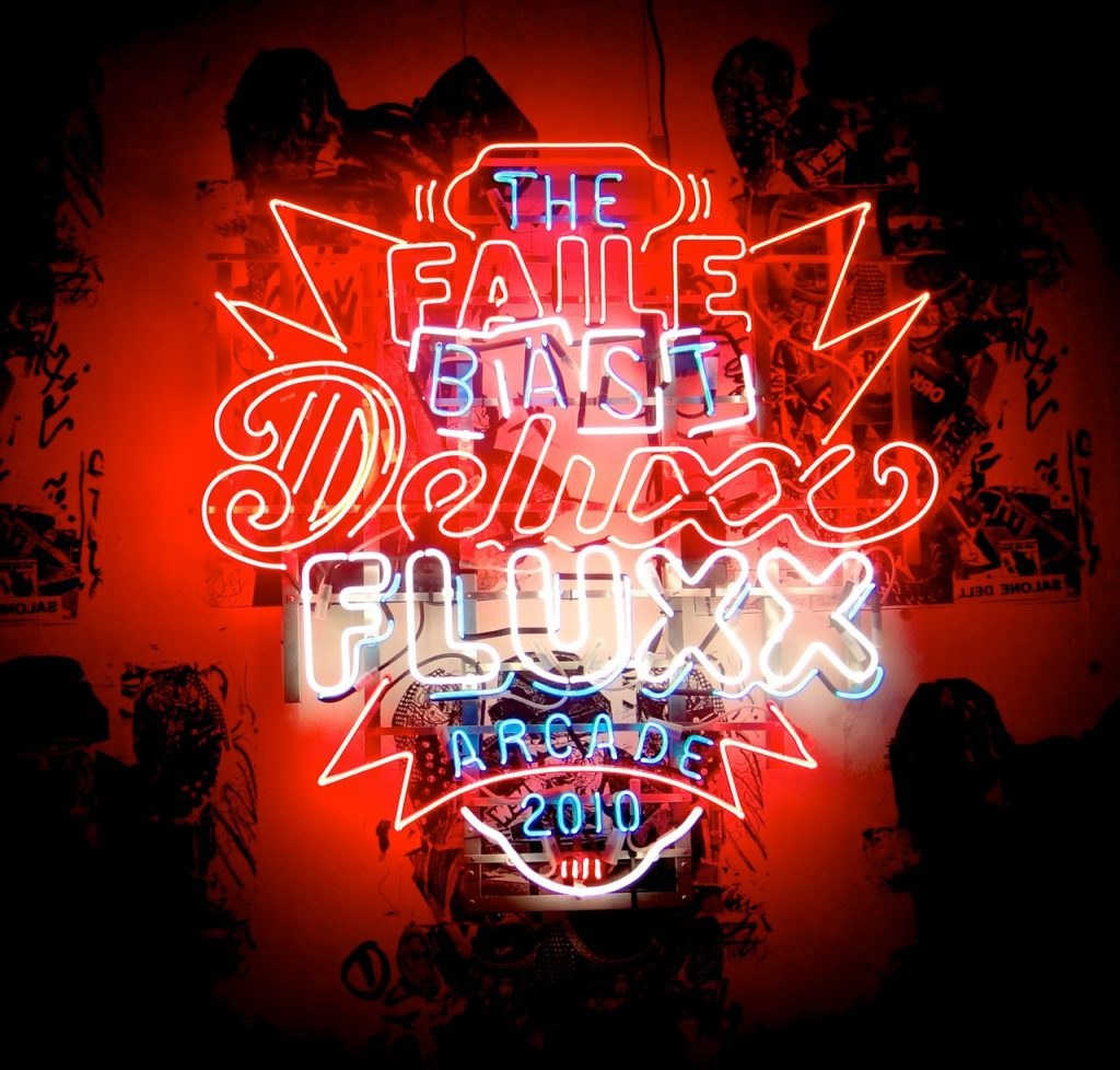 The FAILE & BÄST Deluxx Fluxx Arcade, created in collaboration with Brooklyn artist Bäst
