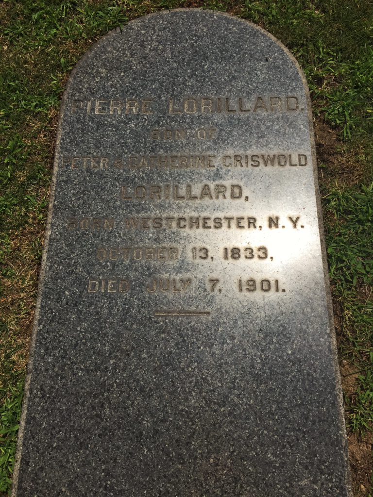 The gravestone of the man who introduced the tuxedo to America (photographer:  Marc Goodman)