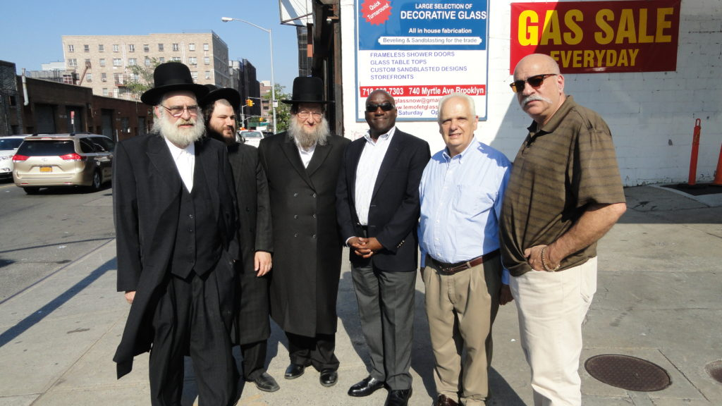(l to r): Rabbi Abe Perlstein, Samuel Stern, Simon Weiser, DOT Brooklyn Borough Commissioner Keith Bray, Assemblyman Joe Lentol, and CB 1 District Manager Gerry Esposito