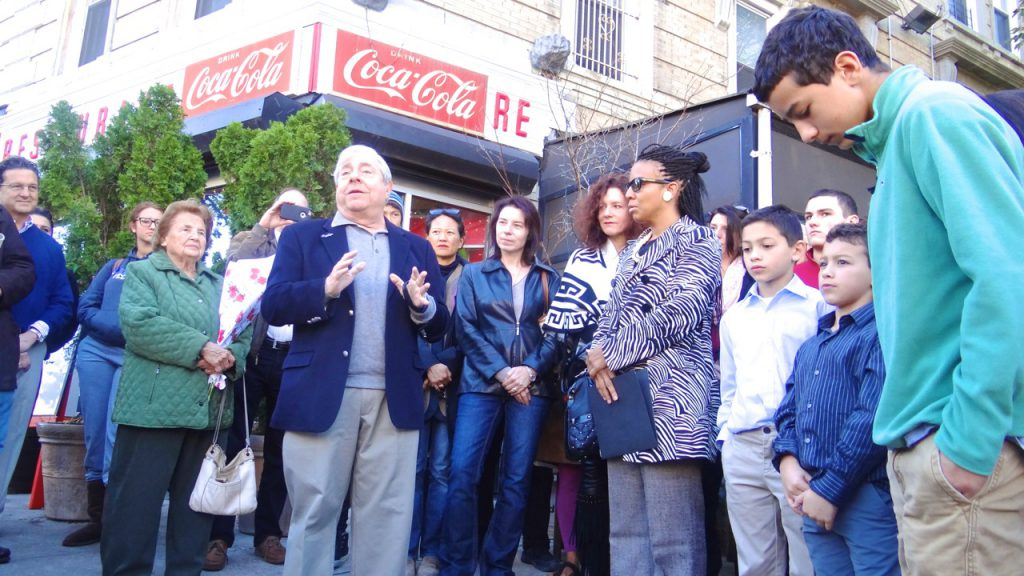 """Former Brooklyn Borough President Marty Markowitz joins City Councilmember Laurie Cumbo for the co-naming of Sterling Pl at Washington Avenue: """"Gus Vlhavas Place,"""" after the late owner of Tom's Diner"""