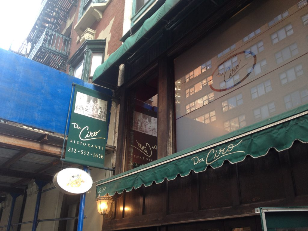 Da Ciro Restaurant, Manhattan location