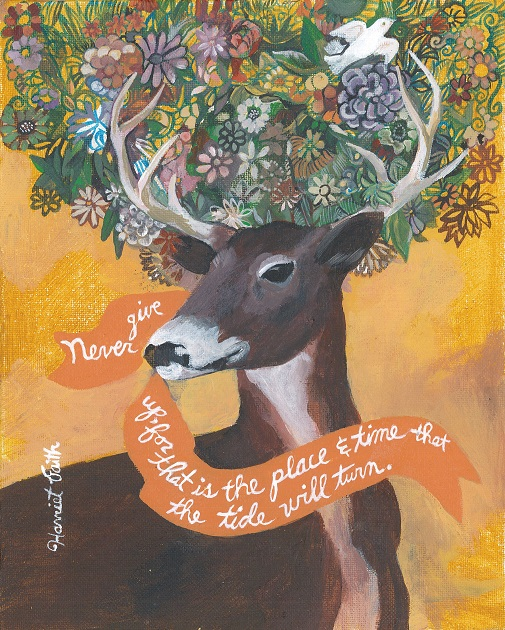 Harriet Faith, Creativity, Art, Illustration, Pay Attention To Your Dreams, Quotes, Inspiration, Motivation, Dreams, Hand Lettering, Drawing, Painting, Season's Greetings, Artist's Greeting Cards, Holidays, Gifts. Buck, Deer, Antlers, Flowers