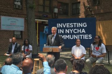 Eric L. Adams, Bill de Blasio, Martin Dilan, Robert Cornegy, Marcy Houses Community Center, groundbreaking, announcement
