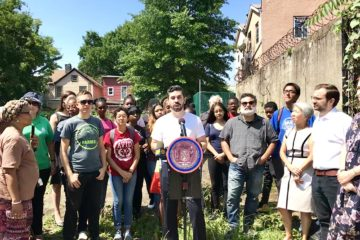 Councilmember Rafael Espinal joined by representatives from East New York Farms, urban gardeners of Ashford Abundant Garden and community stakeholders.