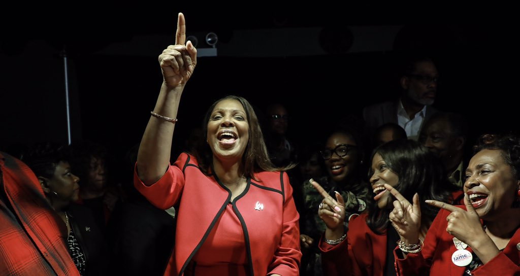 NY Attorney General-Elect Tish James with Re. Yvette Clarke, Councilmembers Alicka Ampry-Samuel and Robert Cornegy.