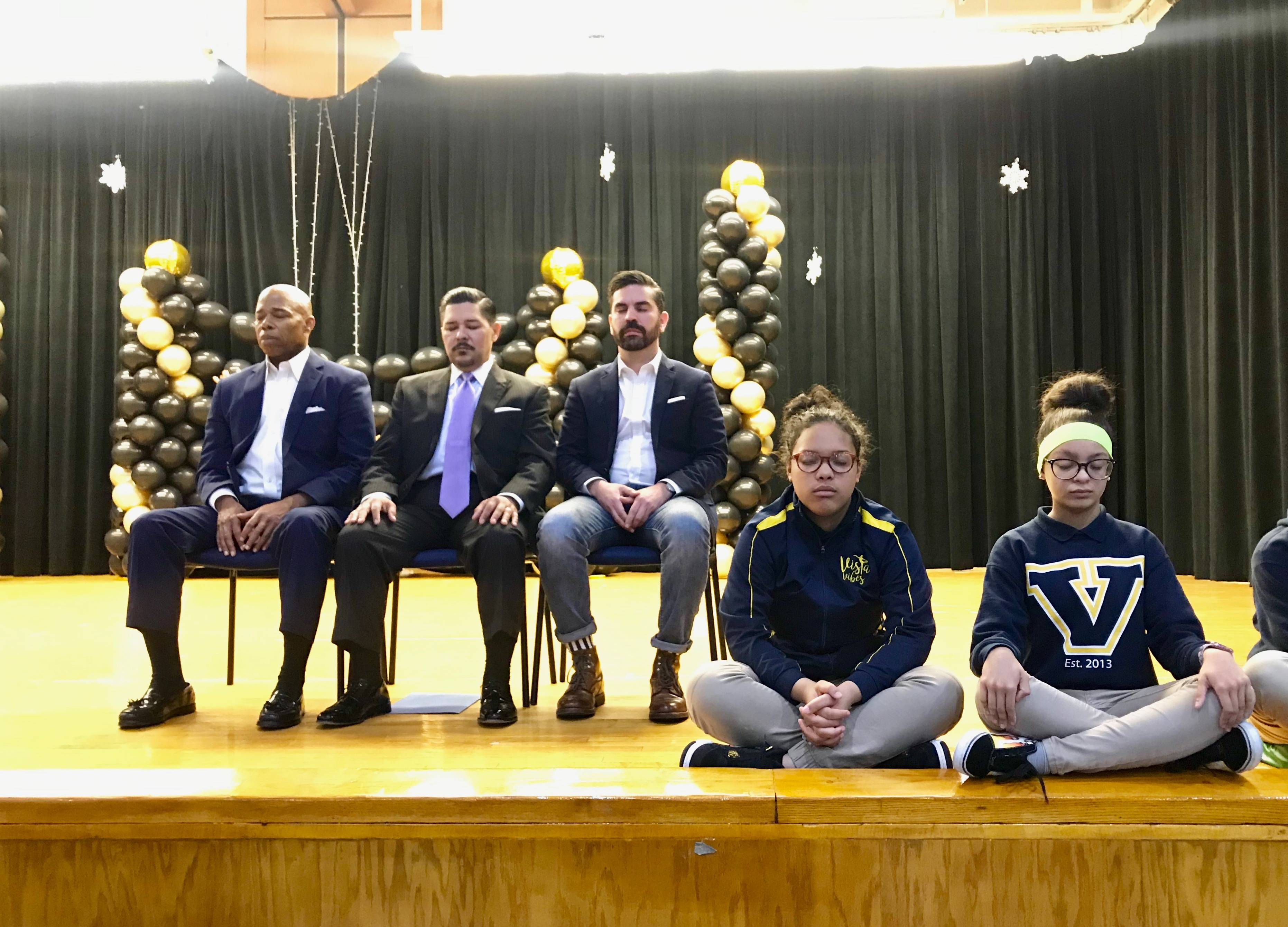 Brooklyn Borough President Adams, Schools Chancellor Carranza and Councilmember Espinal East New York's Vista Academy for the launch of a pilot to bring mindfulness, meditation and yoga to East Brooklyn schools.