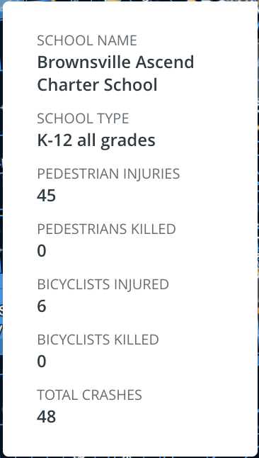 Safer America, interactive map, searchable database, pedestrian crashes, bicycle crashes, school zones, Brooklyn, New York City
