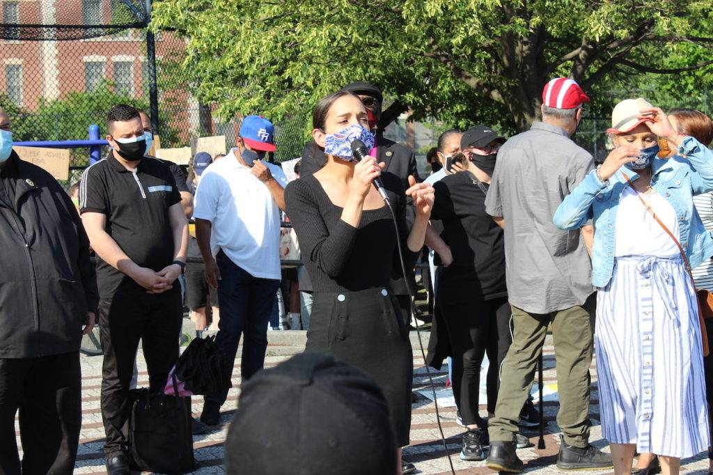 Senator Julia Salazar urges the crowd to fight to repeal section 50-a. Photo: Anna Bradley-Smith.